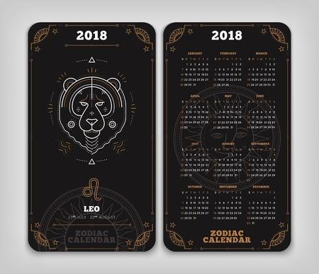 Leo 2018 jaar zodiac kalender zakformaat verticale lay-out. Dubbele kant zwarte kleur ontwerp stijl vector concept illustratie Stock Illustratie