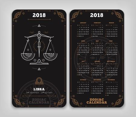Weegschaal 2018 jaar dierenriem kalender zakformaat verticale lay-out. Dubbelzij zwarte kleur ontwerp stijl vector concept illustratie