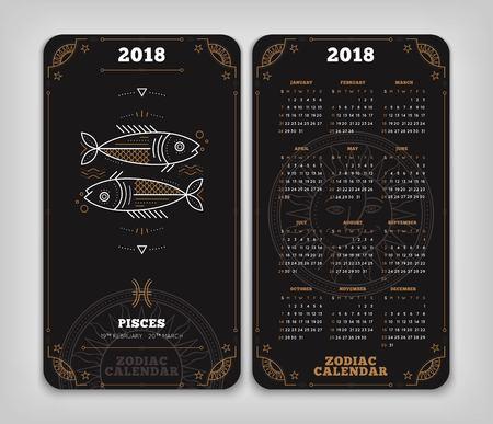 Vissen 2018 jaar zodiac kalender zakformaat verticale lay-out. Dubbelzij zwarte kleur ontwerp stijl vector concept illustratie