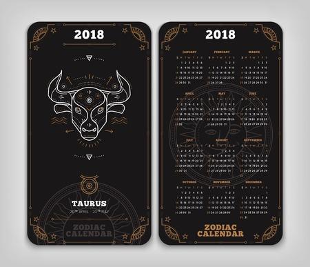 Taurus 2018 jaar zodiac kalender zakformaat verticale lay-out. Dubbelzij zwarte kleur ontwerp stijl vector concept illustratie