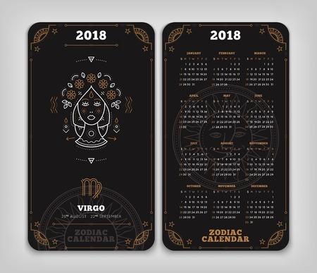 Maagd 2018 jaar zodiac kalender zakformaat verticale lay-out. Dubbelzij zwarte kleur ontwerp stijl vector concept illustratie