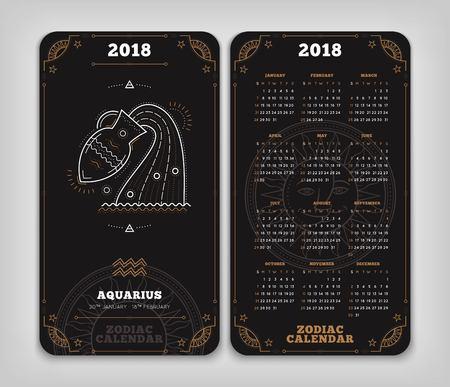 Waterman 2018 jaar zodiac kalender zakformaat verticale lay-out. Dubbelzij zwarte kleur ontwerp stijl vector concept illustratie Stock Illustratie