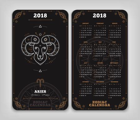 Ram 2018 jaar zodiac kalender zakformaat verticale lay-out. Dubbelzij zwarte kleur ontwerp stijl vector concept illustratie