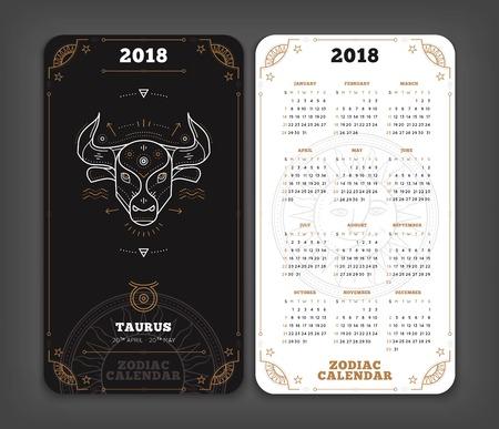 Taurus 2018 jaar zodiac kalender zakformaat verticale lay-out. Dubbelzijdige zwart-witte kleur ontwerp stijl vector concept illustratie