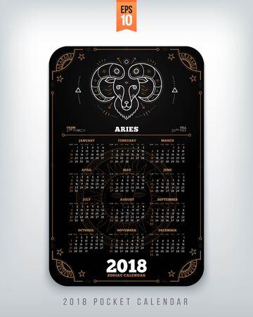 Ram 2018 jaar zodiac kalender zakformaat verticale lay-out. Zwarte kleur ontwerp stijl vector concept illustratie