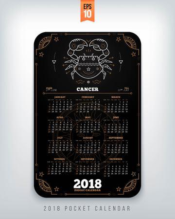 Cancer 2018 jaar dierenriem kalender zakformaat verticale lay-out. Zwarte kleur ontwerp stijl vector concept illustratie Stock Illustratie