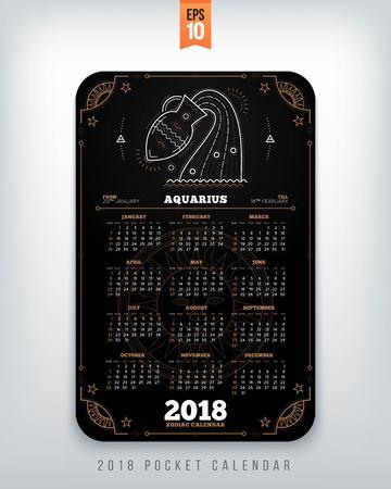 Waterman 2018 jaar zodiac kalender zakformaat verticale lay-out. Zwarte kleur ontwerp stijl vector concept illustratie