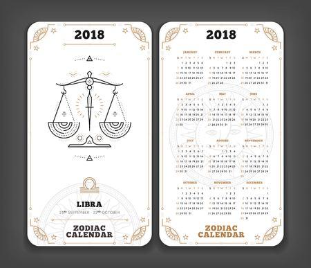 Weegschaal 2018 jaar dierenriem kalender zakformaat verticale lay-out. Dubbele kant witte kleur ontwerp stijl vector concept illustratie