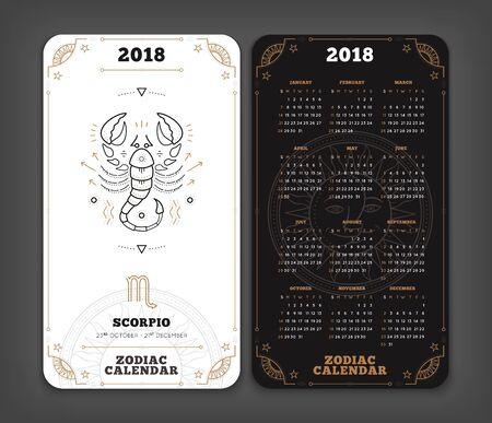 Schorpioen 2018 jaar zodiac kalender zakformaat verticale lay-out. Dubbelzijdige zwart-witte kleur ontwerp stijl vector concept illustratie