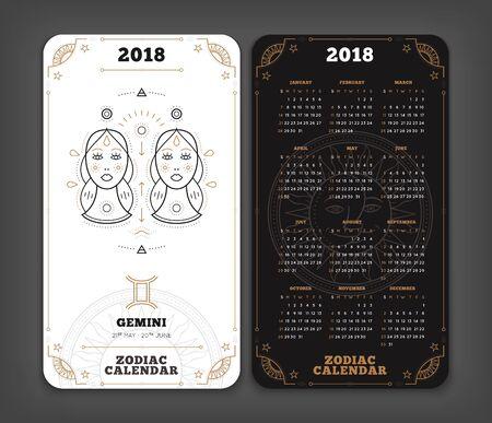 Tweeling 2018 jaar zodiac kalender zakformaat verticale lay-out. Dubbelzijdige zwart-witte kleur ontwerp stijl vector concept illustratie