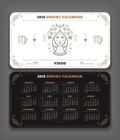 Maagd 2018 jaar zodiac kalender zakformaat horizontale lay-out. Dubbelzijdige zwart-witte kleur ontwerp stijl vector concept illustratie Stock Illustratie