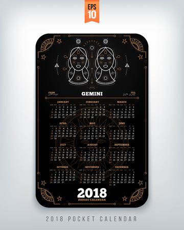 Tweeling 2018 jaar zodiac kalender zakformaat verticale lay-out. Zwarte kleur ontwerp stijl vector concept illustratie