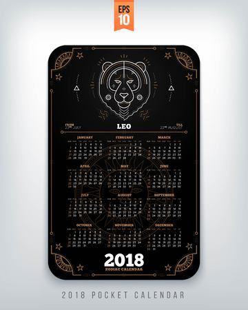 Leo 2018 jaar zodiac kalender zakformaat verticale lay-out. Zwarte kleur ontwerp stijl vector concept illustratie Stock Illustratie