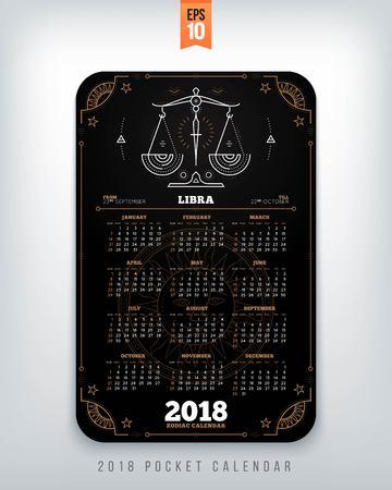 Weegschaal 2018 jaar dierenriem kalender zakformaat verticale lay-out. Zwarte kleur ontwerp stijl vector concept illustratie