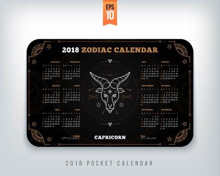 Capricorn 2018 jaar zodiac kalender zakformaat horizontale lay-out. Zwarte kleur ontwerp stijl vector concept illustratie