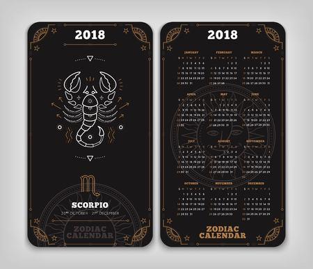 Schorpioen 2018 jaar zodiac kalender zakformaat verticale lay-out. Dubbele kant zwarte kleur ontwerp stijl vector concept illustratie Stock Illustratie