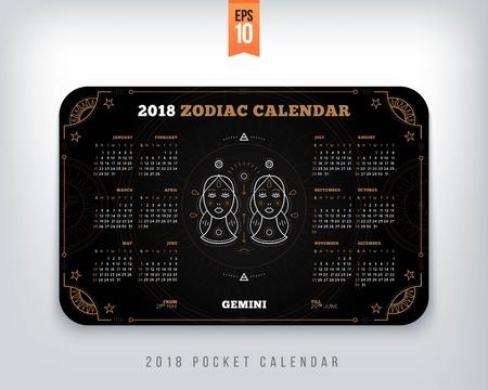 Tweeling 2018 jaar dierenriem kalender zakformaat horizontale lay-out. Zwarte kleur ontwerp stijl vector concept illustratie
