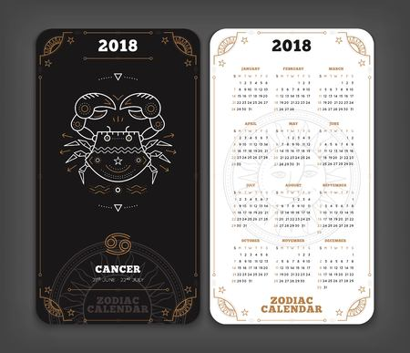 Cancer 2018 jaar dierenriem kalender zakformaat verticale lay-out. Dubbelzijdige zwart-witte kleur ontwerp stijl vector concept illustratie Stock Illustratie