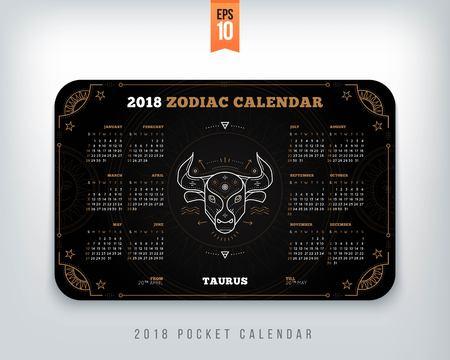 Taurus 2018 jaar zodiac kalender zakformaat horizontale lay-out. Zwarte kleur ontwerp stijl vector concept illustratie