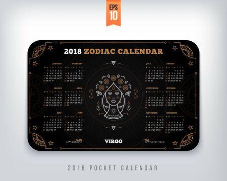 Maagd 2018 jaar zodiac kalender zakformaat horizontale lay-out. Zwarte kleur ontwerp stijl vector concept illustratie