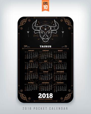 Taurus 2018 jaar zodiac kalender zakformaat verticale lay-out. Zwarte kleur ontwerp stijl vector concept illustratie Stock Illustratie
