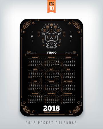 Maagd 2018 jaar zodiac kalender zakformaat verticale lay-out. Zwarte kleur ontwerp stijl vector concept illustratie Stock Illustratie