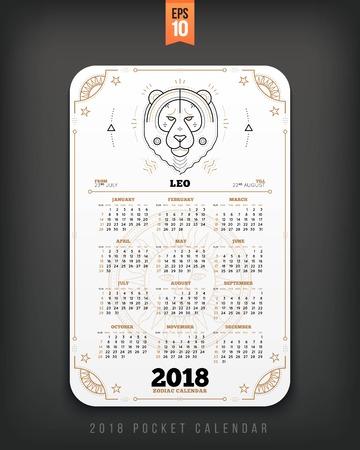 Leo 2018 jaar zodiac kalender zakformaat verticale lay-out. Witte kleur ontwerp stijl vector concept illustratie