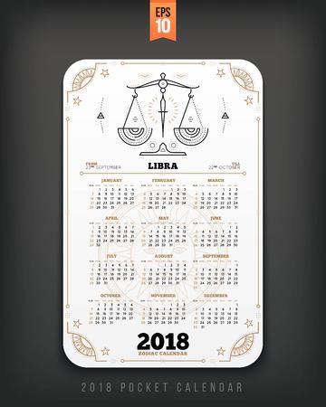 Weegschaal 2018 jaar dierenriem kalender zakformaat verticale lay-out. Witte kleur ontwerp stijl vector concept illustratie
