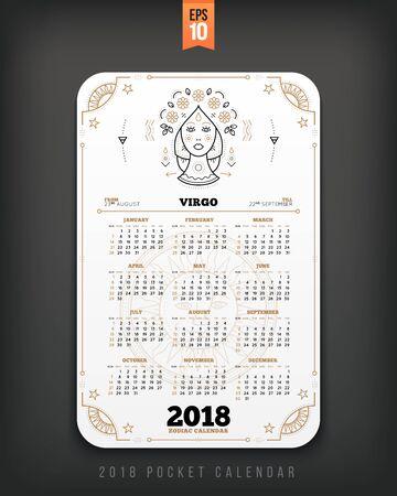 처녀 자리 2018 년 조디악 달력 주머니 크기 세로 레이아웃. 화이트 색상 디자인 스타일 벡터 컨셉 일러스트 레이션