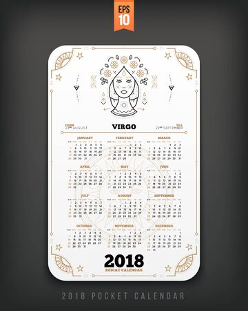 Virgo 2018 year zodiac calendar pocket size vertical layout. White color design style vector concept illustration
