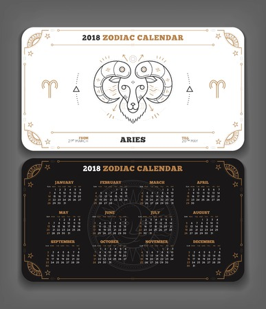 Aries 2018 year zodiac calendar pocket size horizontal layout. Double side black and white color design style vector concept illustration