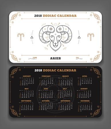 Ram 2018 jaar dierenriem kalender zakformaat horizontale lay-out. Dubbelzijdige zwart-witte kleur ontwerp stijl vector concept illustratie