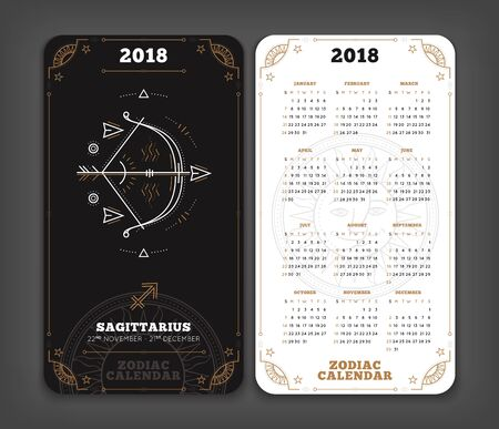 Sagittarius 2018 year zodiac calendar pocket size vertical layout. Double side black and white color design style vector concept illustration