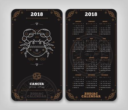 암 2018 년 조디악 달력 주머니 크기 세로 레이아웃. 더블 사이드 검은 색 디자인 스타일 벡터 컨셉 일러스트 레이션 일러스트