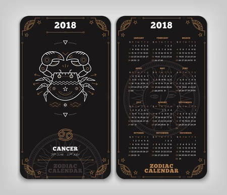 Cancer 2018 year zodiac calendar pocket size vertical layout. Double side black color design style vector concept illustration