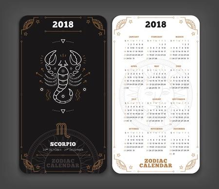 전갈 자리 2018 년 조디악 달력 주머니 크기 세로 레이아웃. 더블 측면 흑백 색상 디자인 스타일 벡터 개념 그림