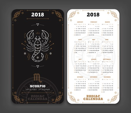 Scorpio 2018 year zodiac calendar pocket size vertical layout. Double side black and white color design style vector concept illustration