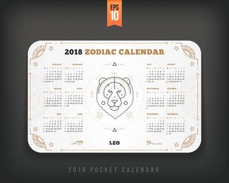 레오 2018 년 조디악 달력 주머니 크기 가로 레이아웃. 흰색 색상 디자인 스타일 벡터 개념 그림 일러스트