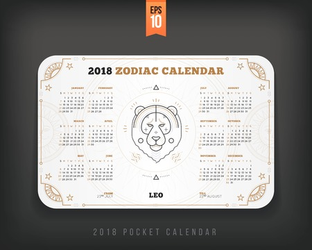 Leeuw 2018 jaar dierenriem kalender zakformaat horizontale lay-out. Witte kleur ontwerp stijl vector concept illustratie Stock Illustratie