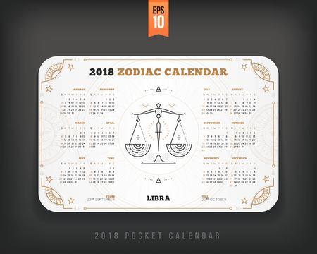 천칭 자리 천칭 자리 2018 년 달력 포켓 크기 가로 레이아웃. 화이트 색상 디자인 스타일 벡터 컨셉 일러스트 레이션 일러스트