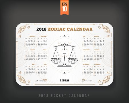 Libra 2018 year zodiac calendar pocket size horizontal layout. White color design style vector concept illustration