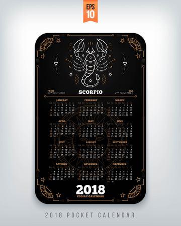 전갈 자리 2018 년 조디악 달력 주머니 크기 세로 레이아웃. 블랙 컬러 디자인 스타일 벡터 컨셉 일러스트 레이션