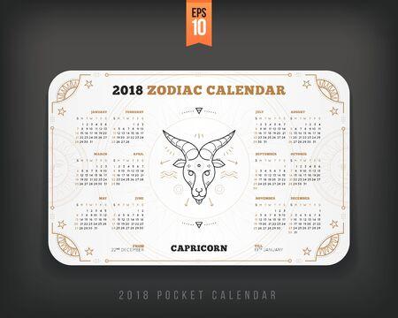 Capricorn 2018 jaar zodiac kalender zakformaat horizontale lay-out. Witte kleur ontwerp stijl vector concept illustratie