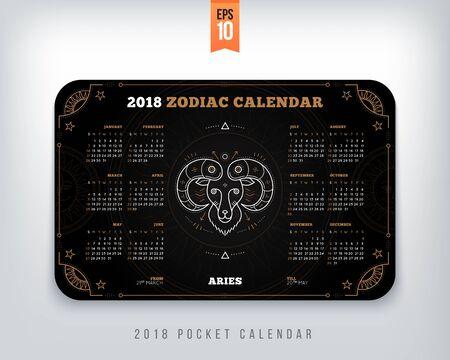 양자리 2018 년 조디악 달력 주머니 크기 가로 레이아웃. 블랙 컬러 디자인 스타일 벡터 컨셉 일러스트 레이션
