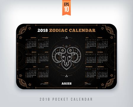Aries 2018 year zodiac calendar pocket size horizontal layout. Black color design style vector concept illustration Çizim