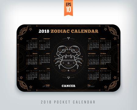 Cancer 2018 년 조디악 달력 포켓 크기 수평 한 배치. 블랙 컬러 디자인 스타일 벡터 컨셉 일러스트 레이션