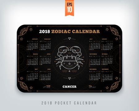Cancer 2018 year zodiac calendar pocket size horizontal layout. Black color design style vector concept illustration
