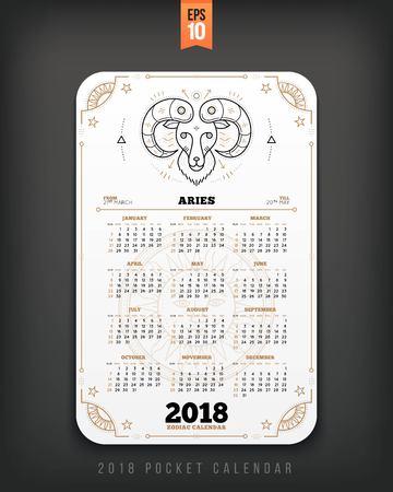 양자리 2018 년 조디악 달력 주머니 크기 세로 레이아웃. 화이트 색상 디자인 스타일 벡터 컨셉 일러스트 레이션