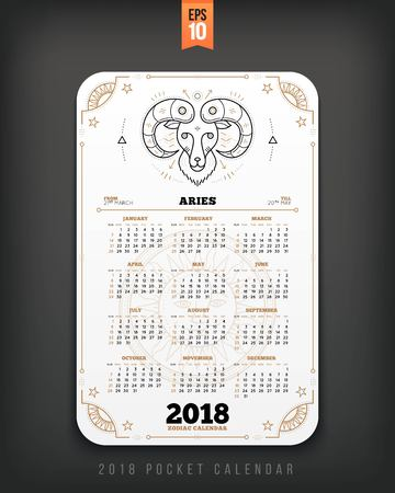 Aries 2018 year zodiac calendar pocket size vertical layout. White color design style vector concept illustration