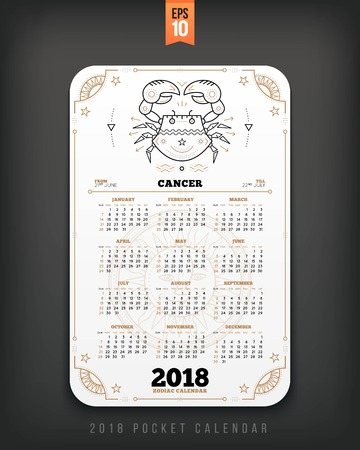 Cancer 2018 year zodiac calendar pocket size vertical layout .White color design style vector concept illustration